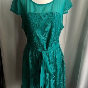 Suzy Shier Teal Lace Dress